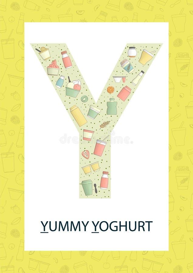 Letra colorida Y do alfabeto Flashcard de ABC ilustração stock