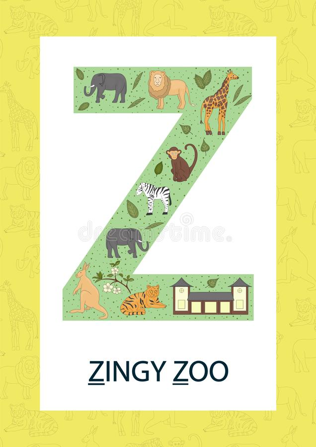 Letra colorida Z do alfabeto Flashcard de ABC ilustração stock