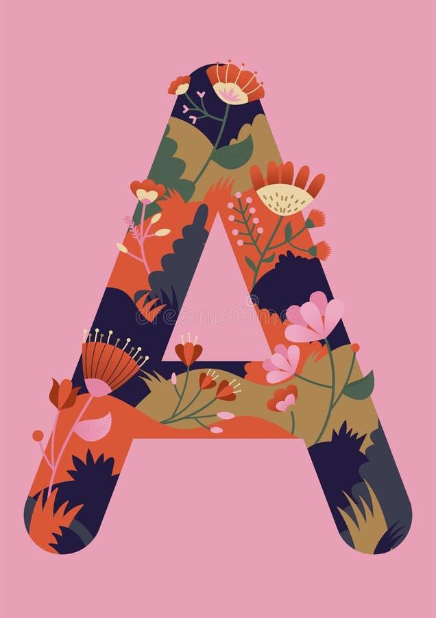 Letra com ilustração do vetor das flores Desenho moderno da letra A em cores vibrantes Alfabeto estilizado ilustração royalty free