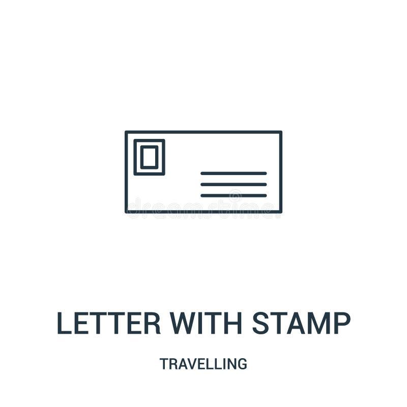 letra com vetor do ícone do selo da coleção de viagem Linha fina letra com ilustração do vetor do ícone do esboço do selo linear ilustração stock