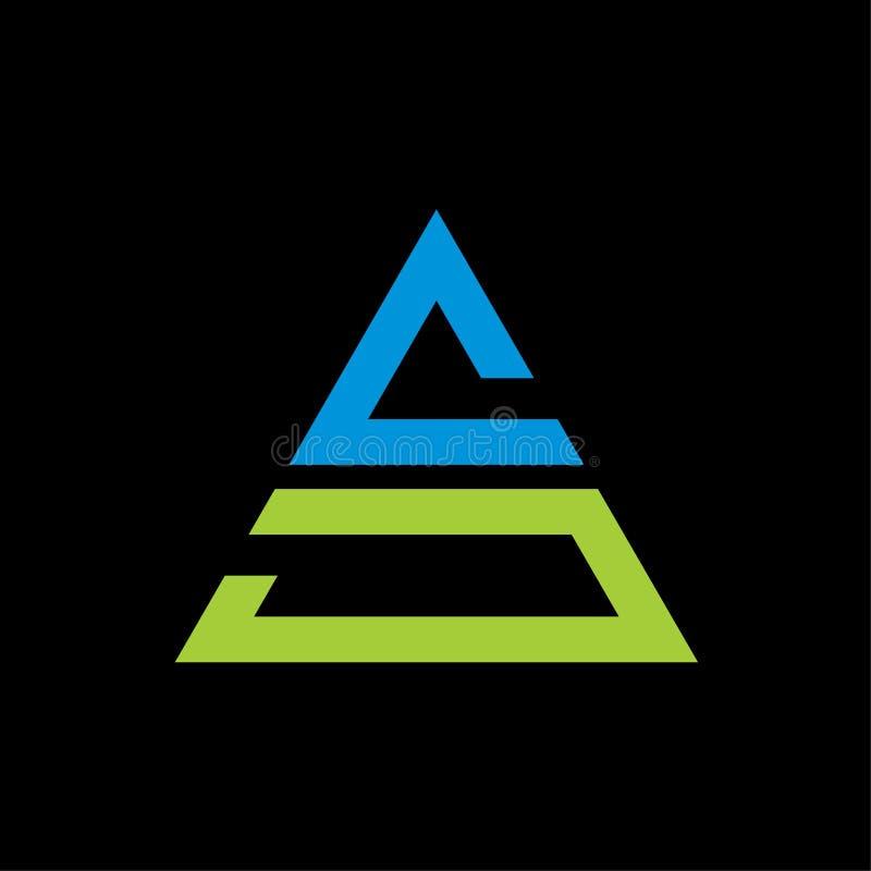 Letra COMO vector del logotipo del triángulo en fondo negro libre illustration