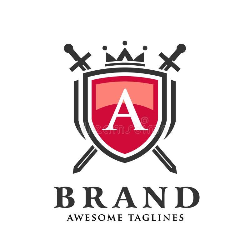 Letra a con dos espadas cruzadas, escudo con el logotipo de la corona stock de ilustración