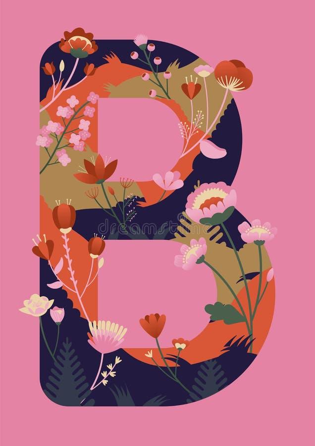 Letra con el ejemplo del vector de las flores Dibujo moderno de la letra B en colores vibrantes Alfabeto estilizado stock de ilustración