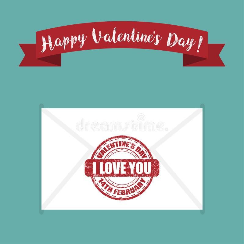 Letra con un sello te amo para el día del ` s de la tarjeta del día de San Valentín Ilustración del vector stock de ilustración