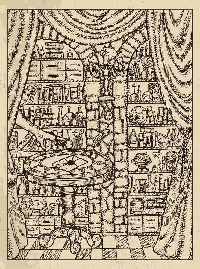 letra Conceito místico para o cartão de tarô do oráculo de Lenormand ilustração stock