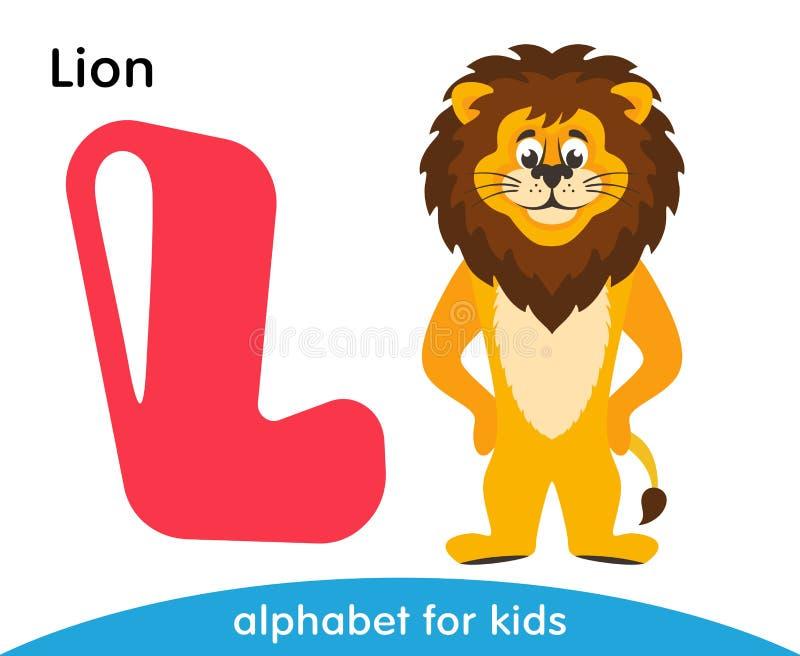 Letra cor-de-rosa L e um leão amarelo com uma juba marrom ilustração stock