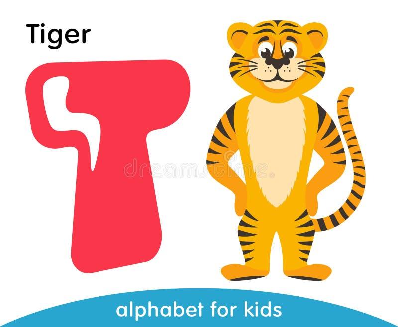 Letra cor-de-rosa T e tigre amarelo ilustração do vetor