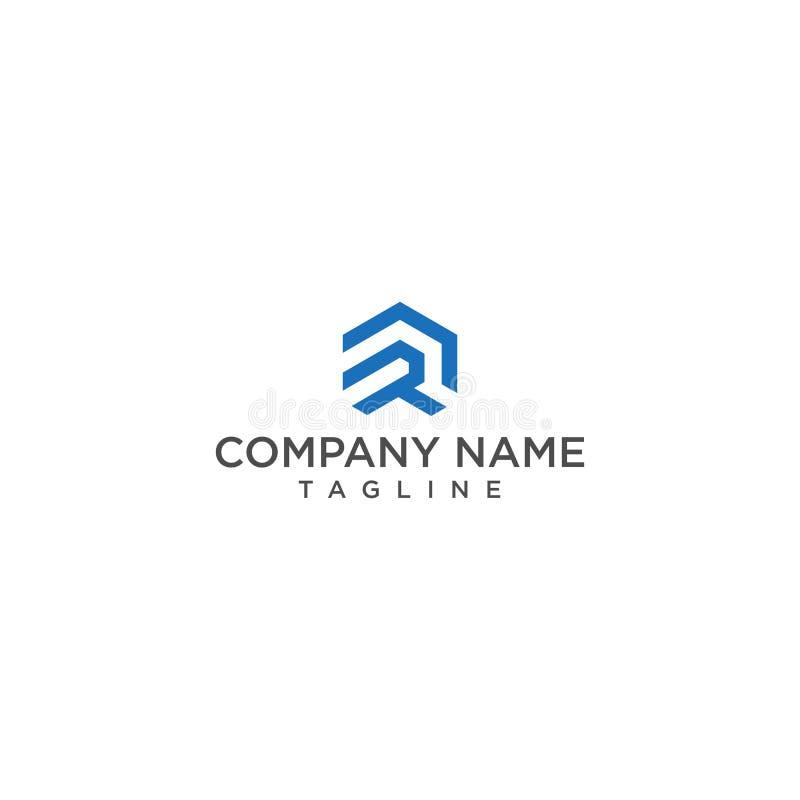 Letra corajosa e criativa R do projeto do logotipo ou construção do RD ilustração stock
