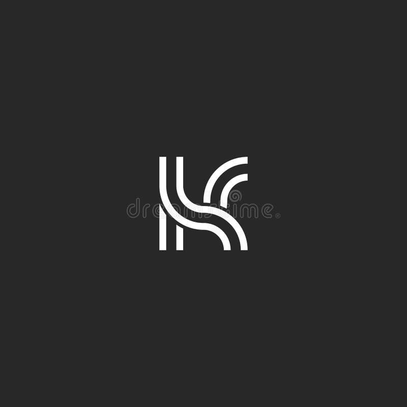 Letra creativa del logotipo del monograma K del diseño, marca inicial del arte linear, líneas blancos y negros paralelas inconfor ilustración del vector