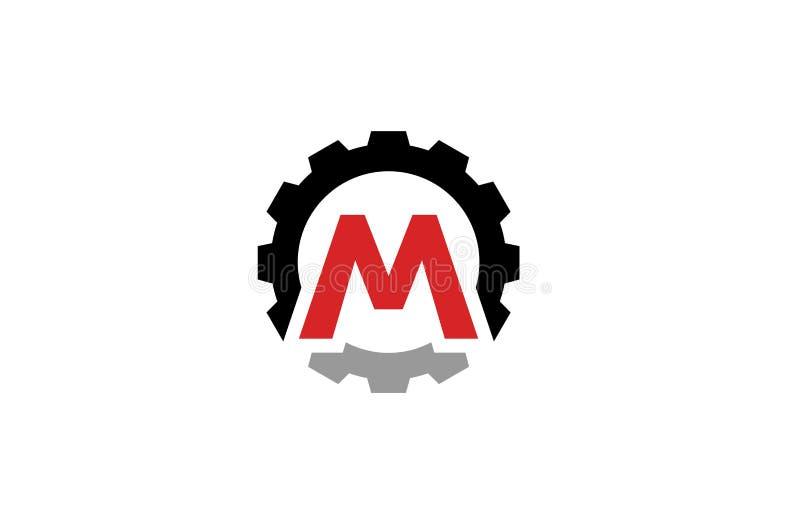 Letra creativa Logo Design Illustration del engranaje M ilustración del vector
