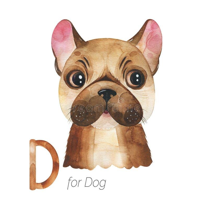 Letra cuta Perro para letra D stock de ilustración