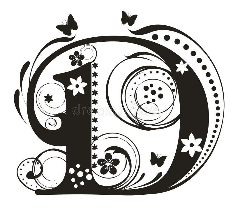 Letra D stock de ilustración