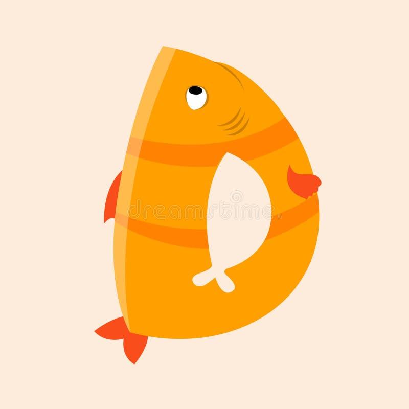 Letra D do alfabeto do mar isolada ilustração do vetor