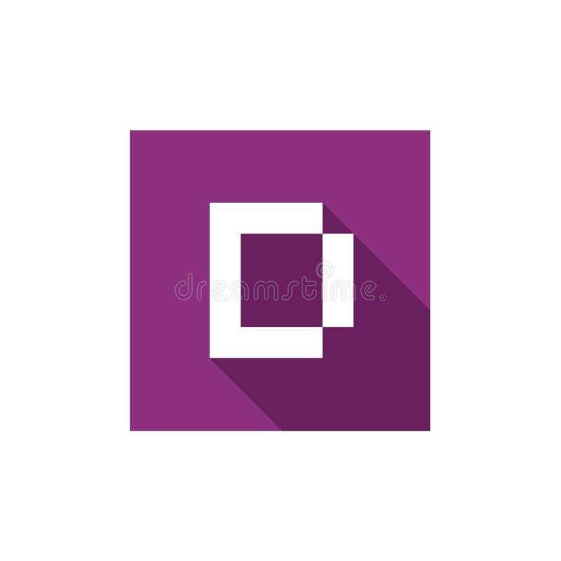 Letra D Logo Icon Design, combinado con forma cuadrada púrpura ilustración del vector