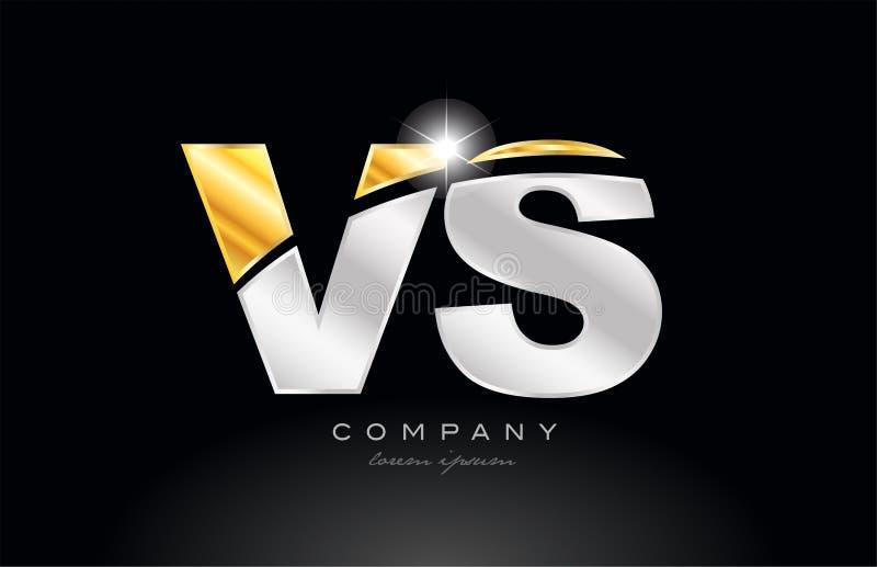 letra da combinação contra o alfabeto de v s com logotipo cinzento de prata do metal do ouro ilustração do vetor