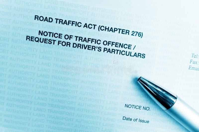 Letra da observação da ofensa do tráfego fotos de stock royalty free