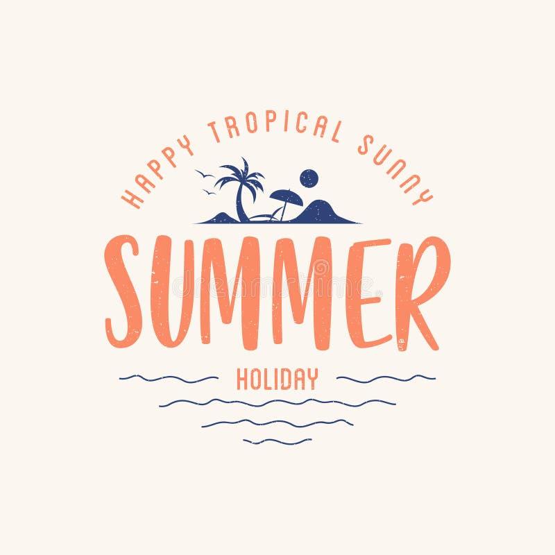 Letra das férias de verão com paisagem tropical da silhueta ilustração do vetor