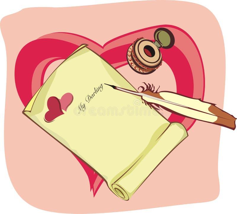Letra de amor ilustração do vetor