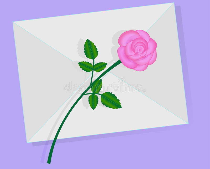 A letra de amor com cor-de-rosa levantou-se ilustração stock