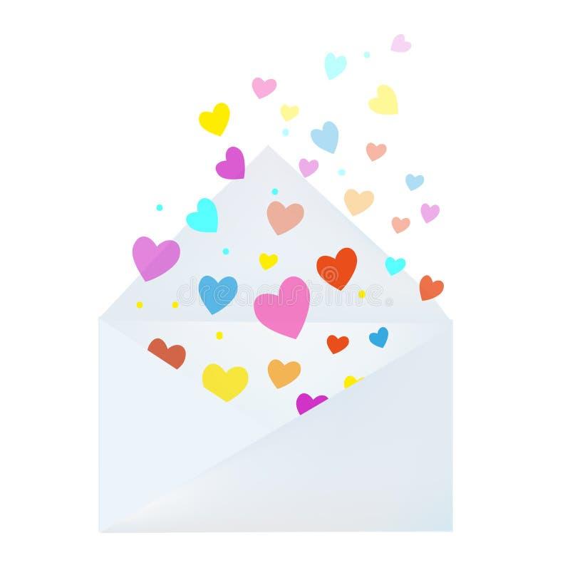 Letra de amor con el sobre y los corazones - carde para el día de tarjetas del día de San Valentín Ilustración del vector ilustración del vector