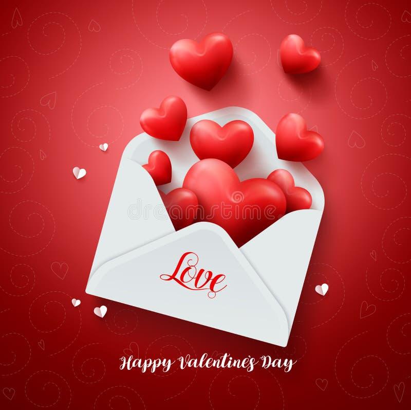 Letra de amor del diseño del vector de los corazones con la tarjeta de papel de las tarjetas del día de San Valentín ilustración del vector