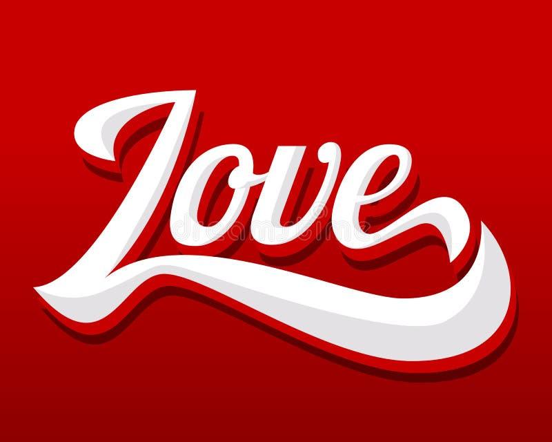 Letra de amor en fondo rojo stock de ilustración