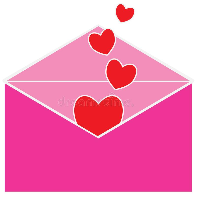 Letra de amor para el día de la tarjeta del día de San Valentín o de tarjetas del día de San Valentín Corazones o formas del cora libre illustration