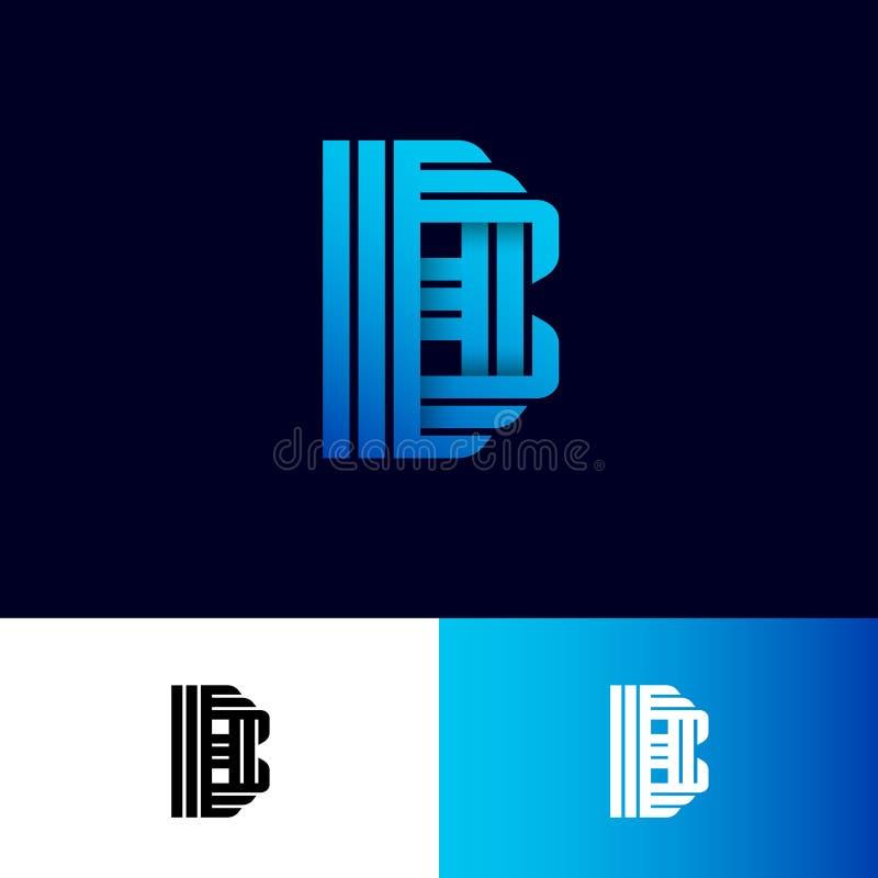Letra de B Logotipo do orig?mi Monograma do inclinação B das fitas ou das tiras de papel, isoladas em um fundo diferente ilustração do vetor