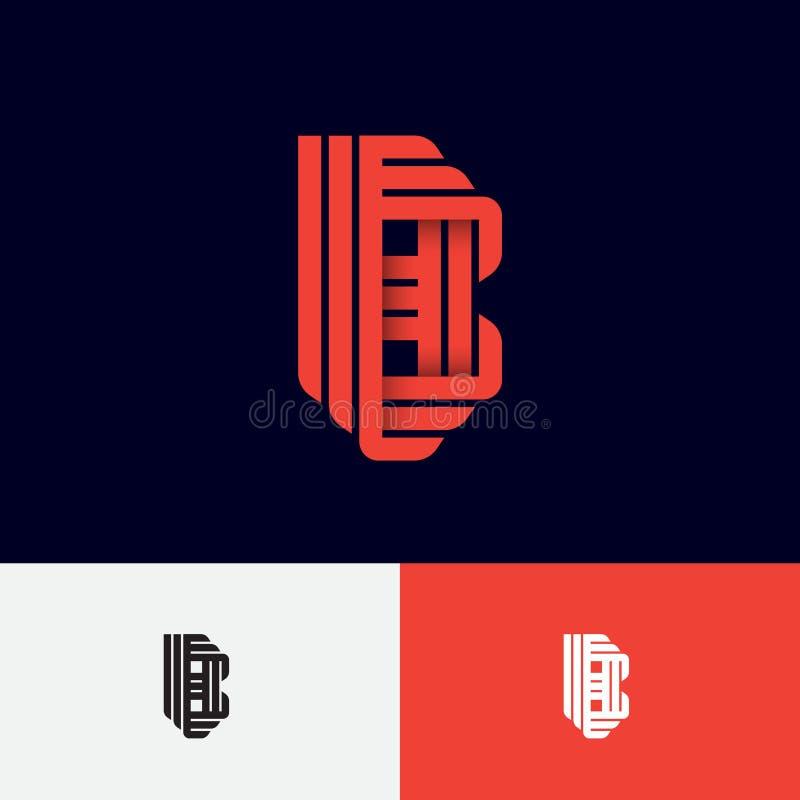 Letra de B Logotipo do orig?mi Monograma do inclinação B das fitas ou das tiras de papel, isoladas em um fundo diferente ilustração stock