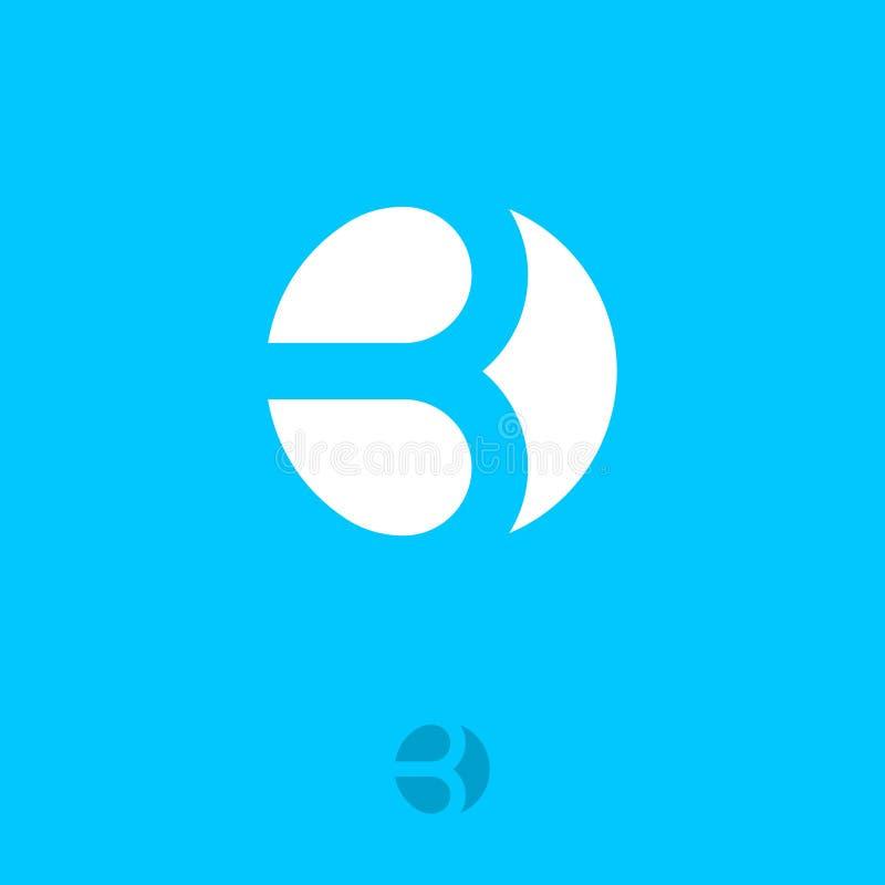 Letra de B Monograma liso de B em um círculo typography Projeto de rotulação ilustração stock