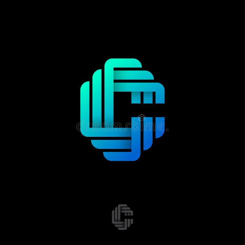 Letra de C Logotipo do orig?mi Monograma do inclinação C das fitas ou das tiras de papel ilustração stock