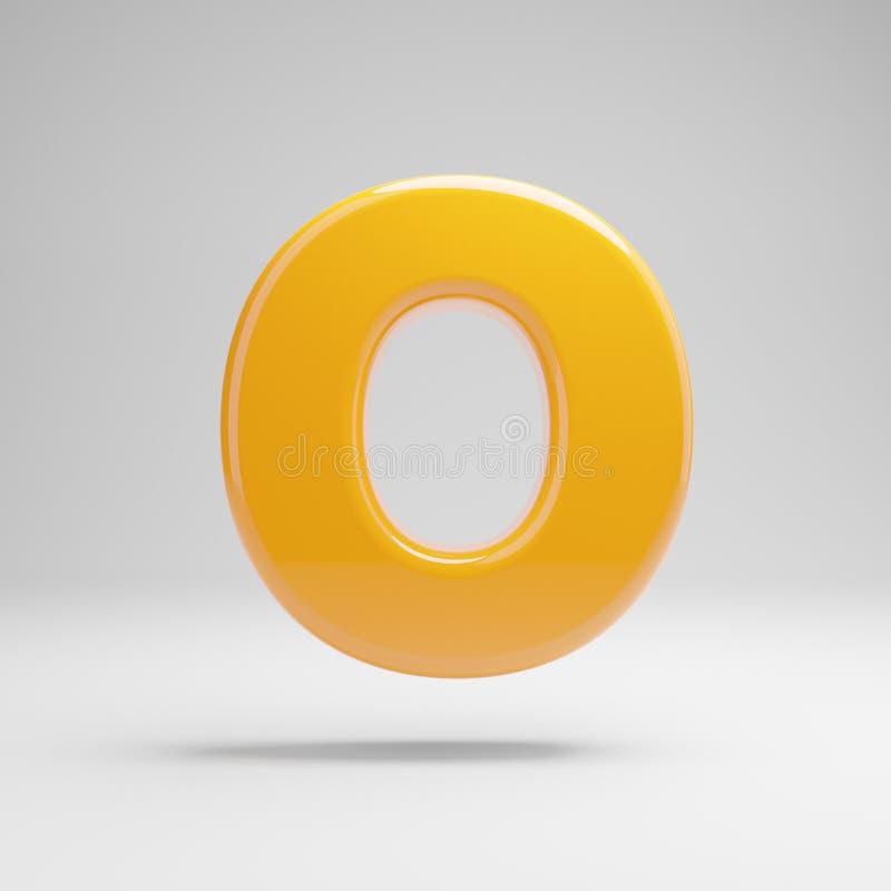 Letra de caixa amarela lustrosa O isolada no fundo branco ilustração stock