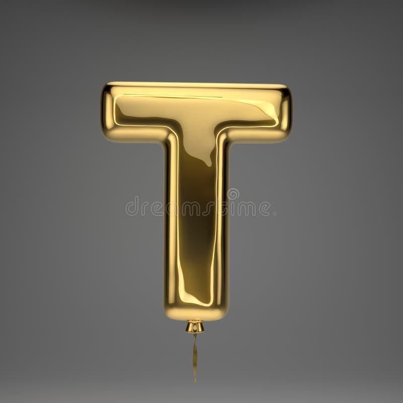 Letra de caixa lustrosa dourada T do balão isolada no fundo escuro ilustração royalty free