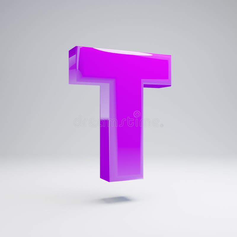 Letra de caixa lustrosa volumétrico T da violeta isolada no fundo branco ilustração do vetor