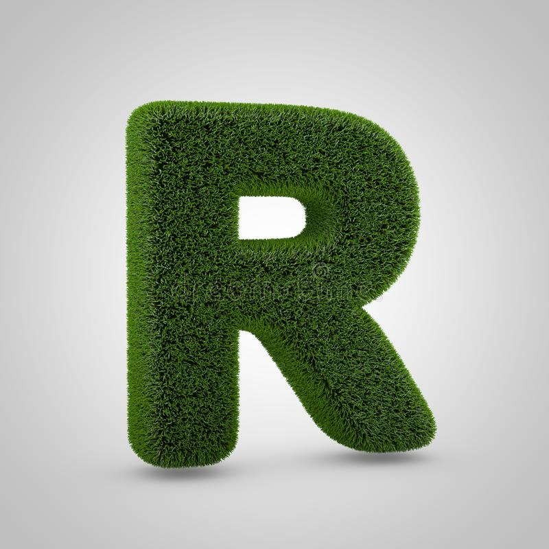 Letra de caixa verde R do musgo isolada no fundo branco fotografia de stock