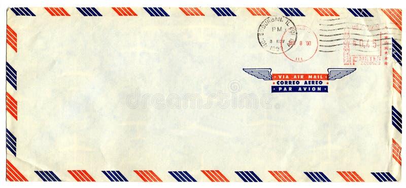 Letra de correo aéreo con el sello americano foto de archivo