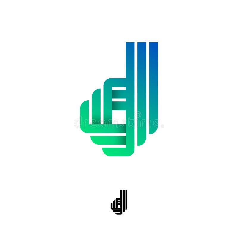 Letra de D Logotipo do orig?mi Monograma do inclinação D das fitas ou das tiras de papel ilustração do vetor
