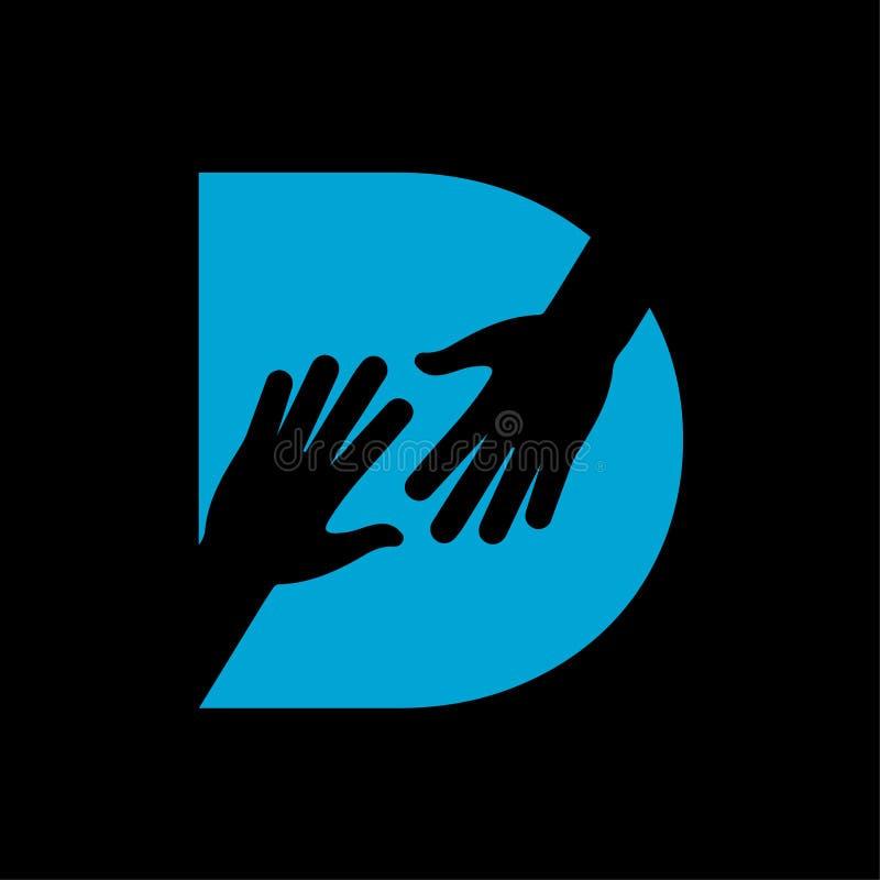 Letra de D no vetor do logotipo da mão amiga ilustração do vetor