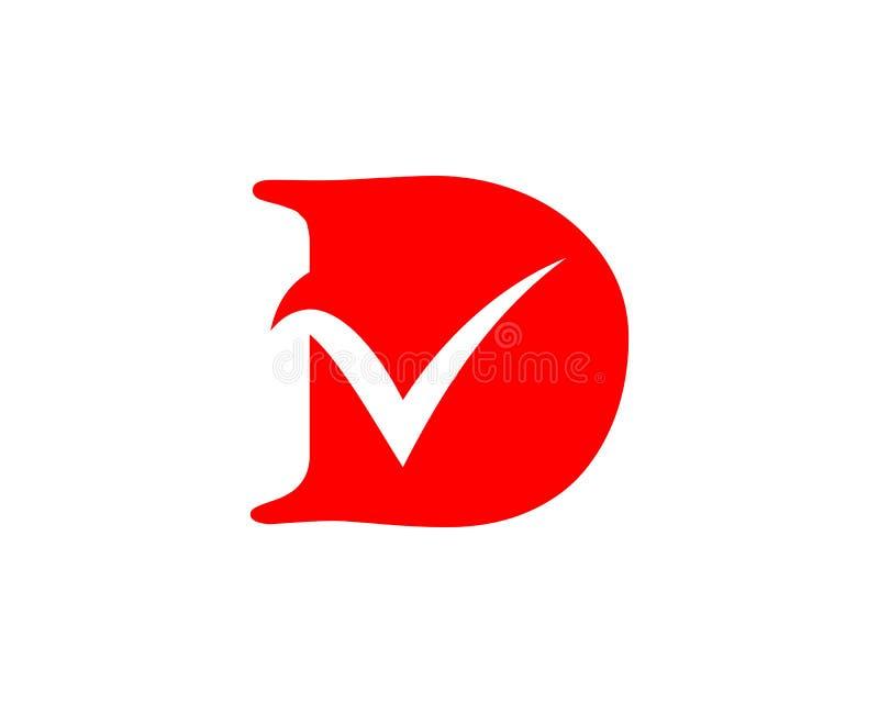 Letra de D y plantilla del logotipo de la lista de control ilustración del vector