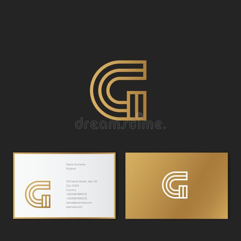 Letra de G Logotipo linear de G Monograma del oro de G, aislado en un fondo rojo stock de ilustración