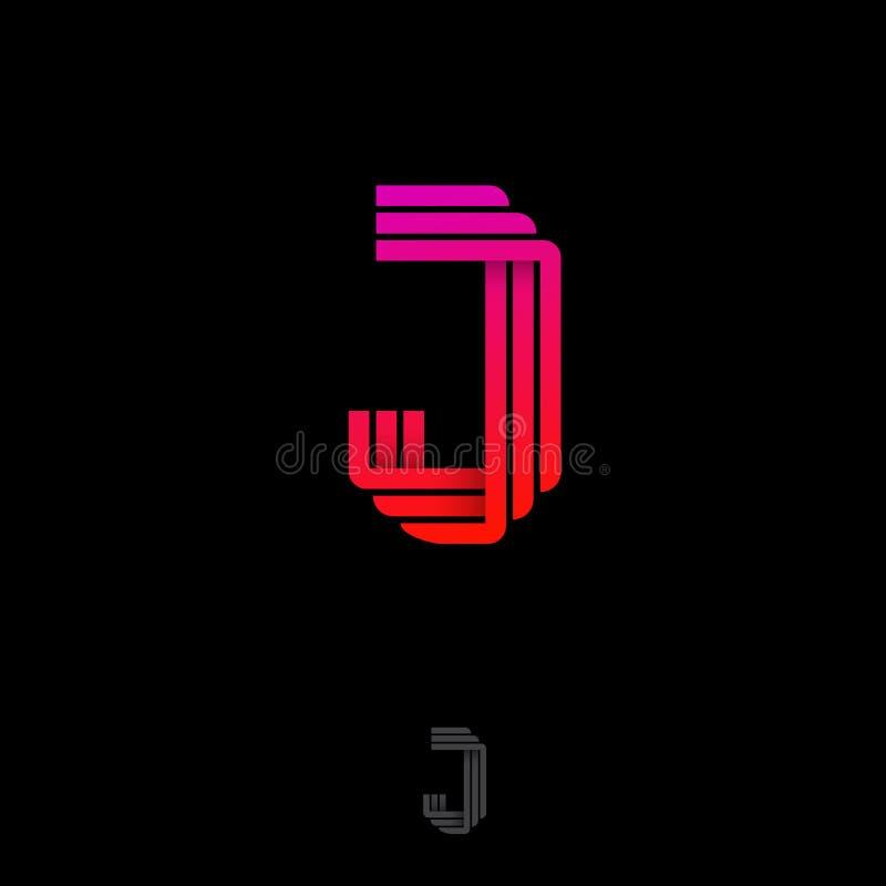 Letra de J Logotipo do orig?mi Monograma do inclinação J das fitas ou das tiras de papel ilustração royalty free