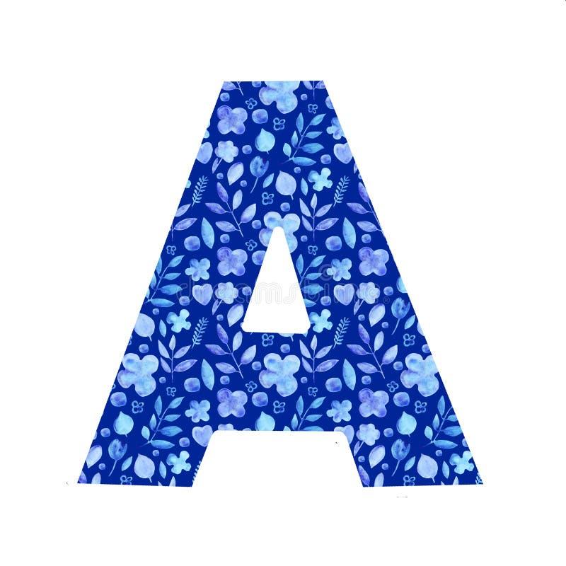 letra A de la acuarela con un modelo de flores y de hojas stock de ilustración