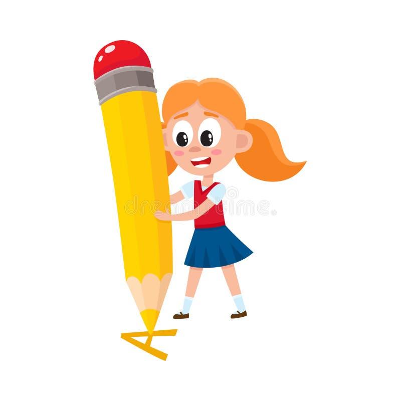 Letra A de la escritura de la niña con el lápiz gigante libre illustration