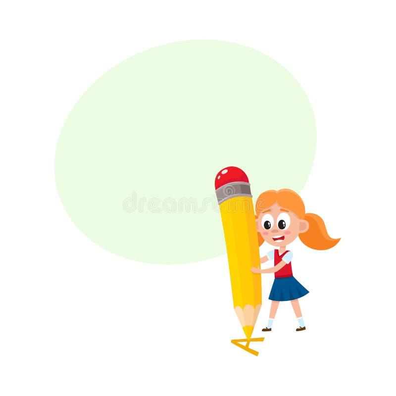Letra A de la escritura de la niña con el lápiz gigante stock de ilustración