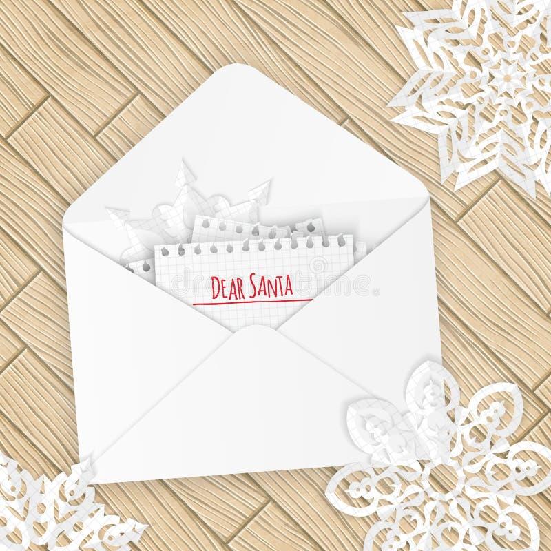 Letra de la Feliz Navidad con los copos de nieve ilustración del vector