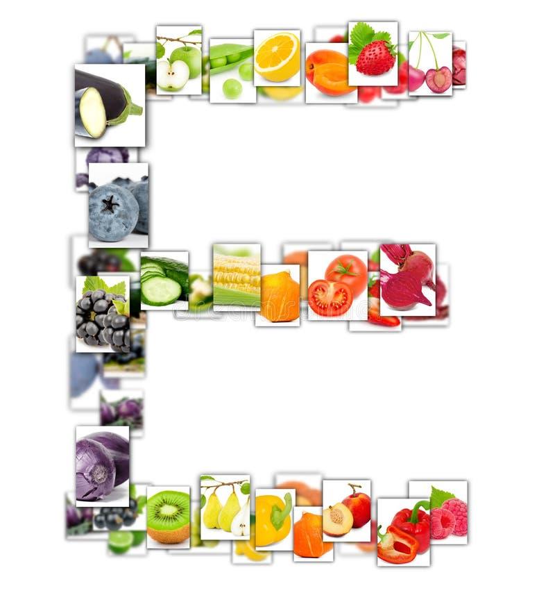 Letra de la fruta y verdura foto de archivo libre de regalías