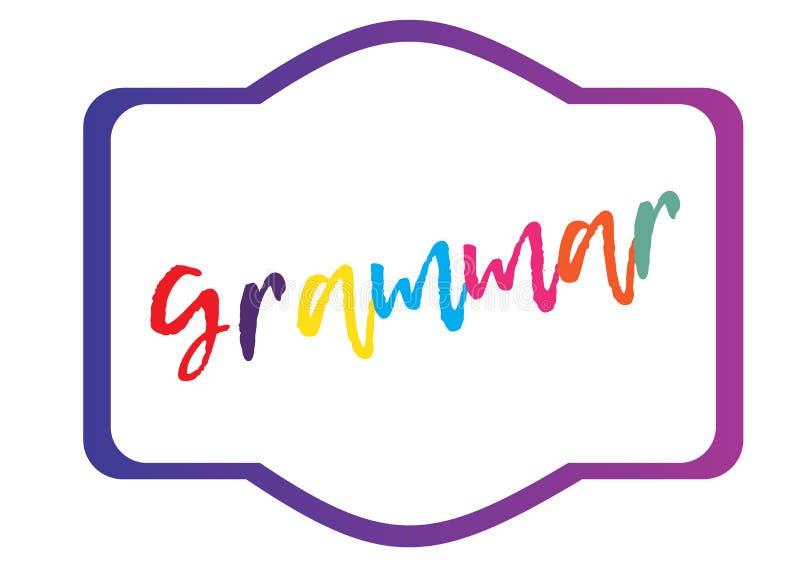 Letra de la gramática en fondo ligero Colección del vector Lección de gramática Alfabeto inglés libre illustration