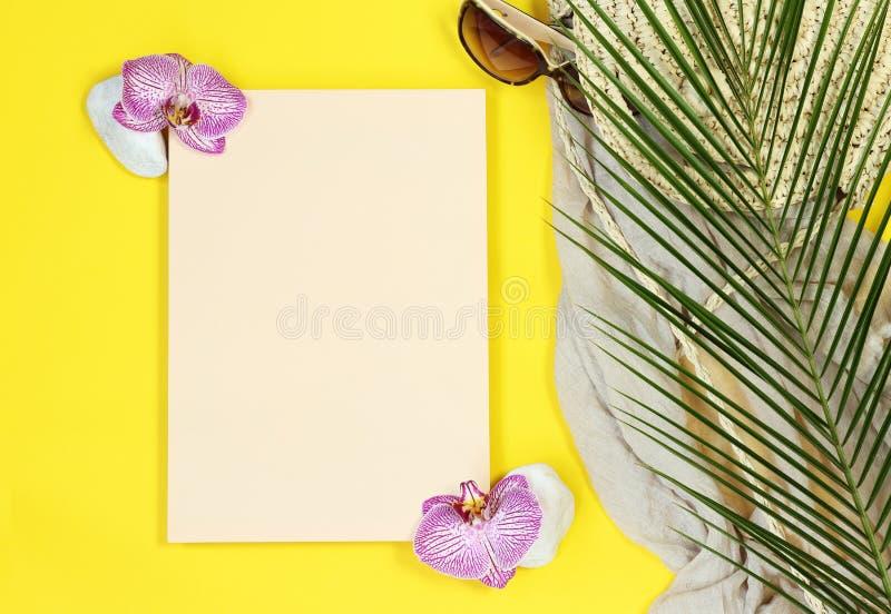 Letra de la maqueta del verano con las hojas de palma imagenes de archivo