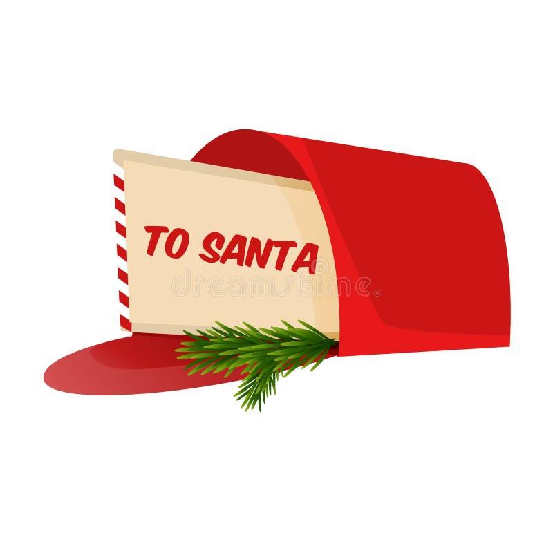 Letra de la Navidad a Santa Claus en el buzón ilustración del vector