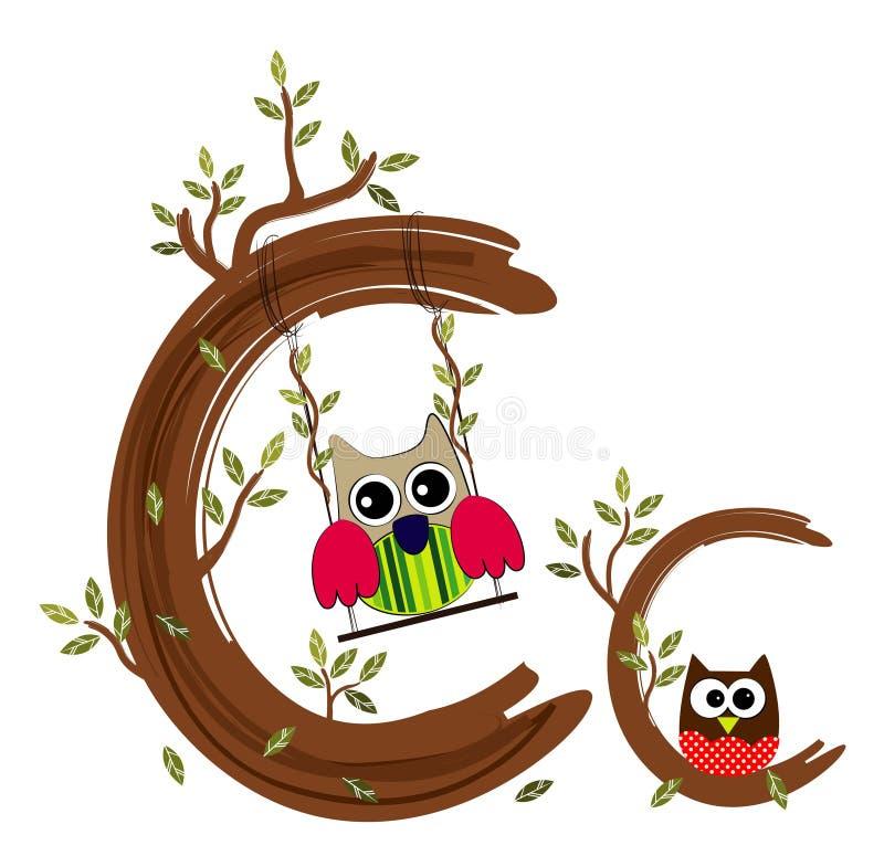 Letra de madeira C Owl Vetora ilustração do vetor